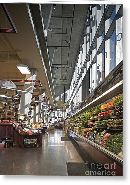 Grocery Store Greeting Cards - Produce Section on a Supermarket Greeting Card by Robert Pisano