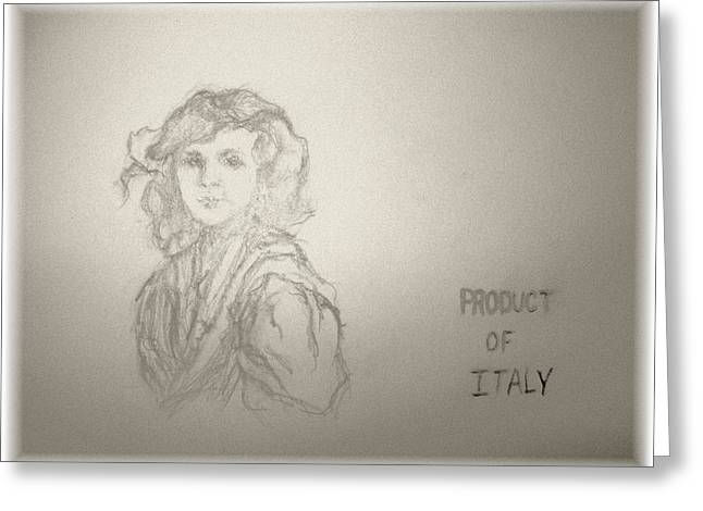 Vinegar Drawings Greeting Cards - Product of Italy Greeting Card by Nancy  Caccioppo
