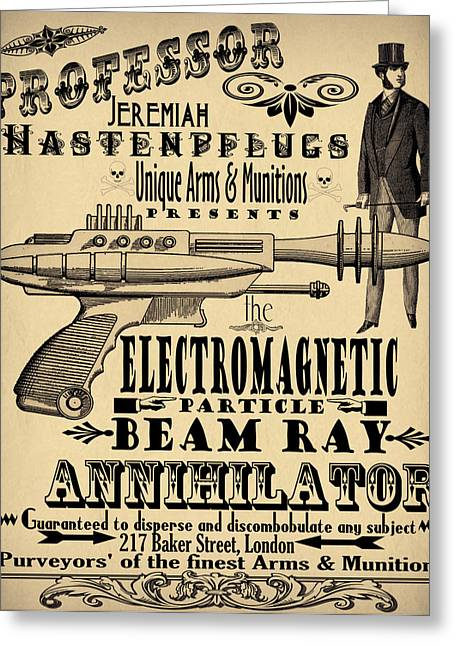 Steam Punk Greeting Cards - Professor H and his Ray Gun Greeting Card by Cinema Photography