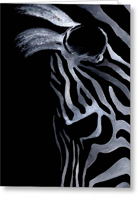 Zebra In Acrylic Greeting Cards - Profile of Zebra Greeting Card by Natasha Denger