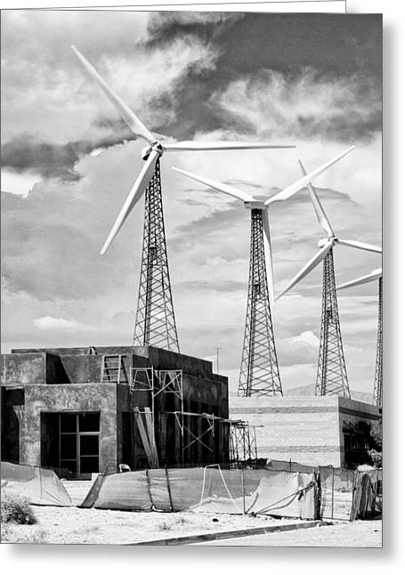 Gray Building Greeting Cards - PROGRESS Palm Springs Greeting Card by William Dey
