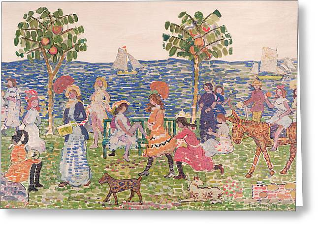 Eight Greeting Cards - Promenade Greeting Card by Maurice Brazil Prendergast