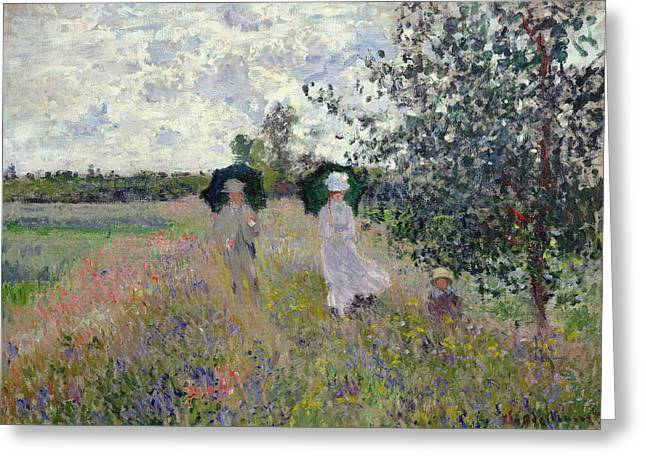 Field Greeting Cards - Promenade near Argenteuil Greeting Card by Claude Monet