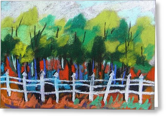Fence Pastels Greeting Cards - Property Line Greeting Card by John  Williams