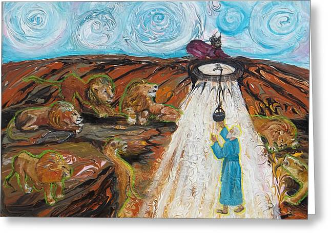 Revising Paintings Greeting Cards - Prophetic Message Sketch 15 Daniel the Lions Den and the Whirlwind Greeting Card by Anne Cameron Cutri
