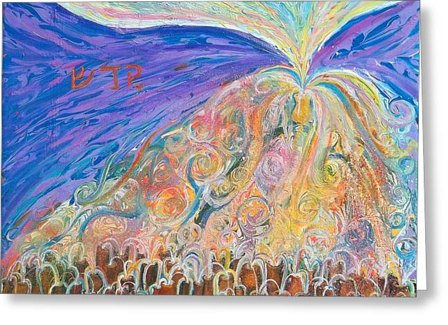 Holy Vessels Greeting Cards - Prophetic Message Sketch 22 SANCTIFY Glory pouring into vessel on the mountain  Greeting Card by Anne Cameron Cutri