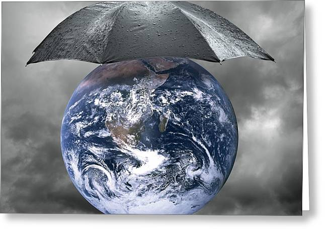 Raining Greeting Cards - Protect The Planet, Conceptual Artwork Greeting Card by Victor De Schwanberg
