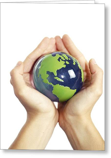 Global Awareness Greeting Cards - Protected Earth, Conceptual Image Greeting Card by Cristina Pedrazzini