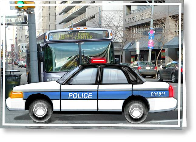Police Cruiser Greeting Cards - Proud Police Car in the City  Greeting Card by Elaine Plesser