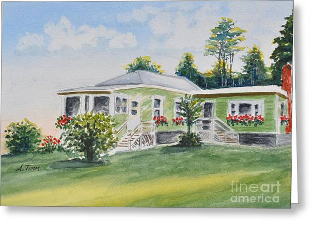 Prout's Neck Cottage Greeting Card by Andrea Timm