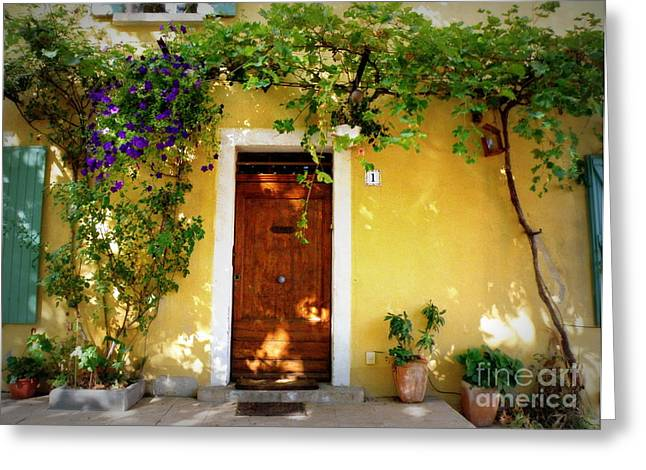 Provence Village Greeting Cards - Provence Door Number 1 Greeting Card by Lainie Wrightson