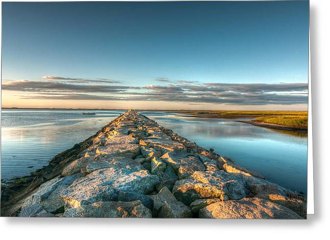 Province Town Jetty At Sunrise Greeting Card by Linda Pulvermacher