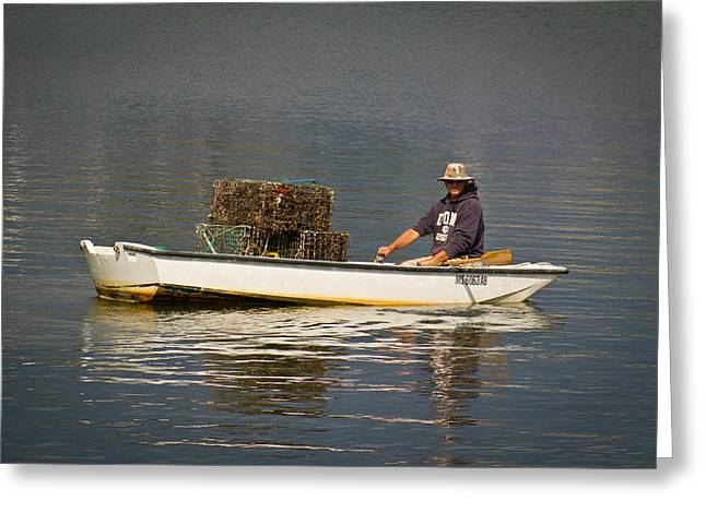 Cape Cod Mass Greeting Cards - Provincetown Lobsterman Greeting Card by Pamela Deutchman