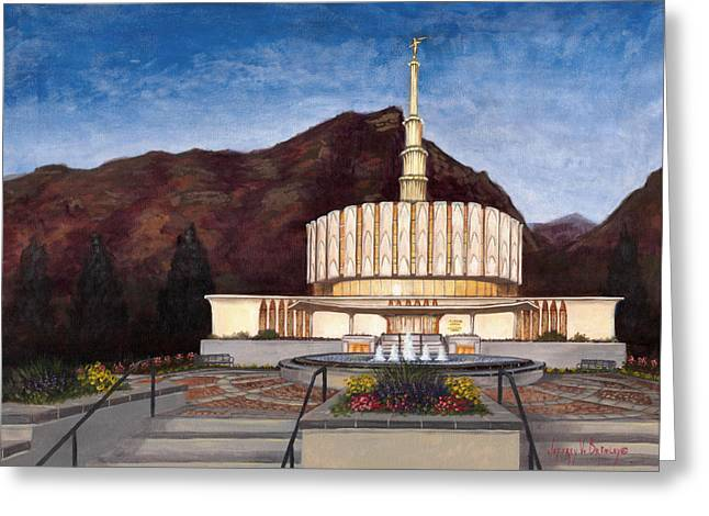 Salt Lake Temple Greeting Cards - Provo Temple Greeting Card by Jeff Brimley