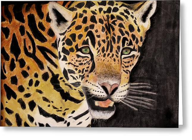 Jaguars Pastels Greeting Cards - Prowl Greeting Card by Abigail Fleetwood