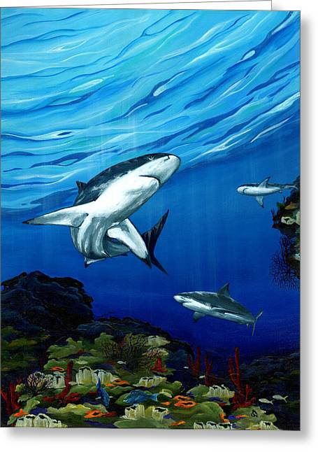 Black Marlin Paintings Greeting Cards - Prowling Greeting Card by Sandra Camper