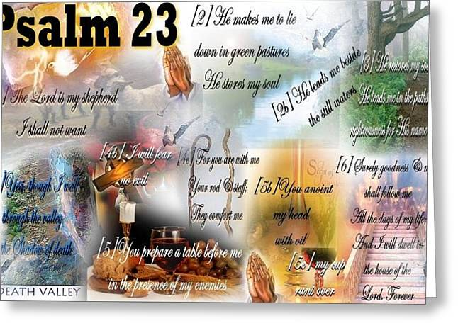Empowerment Mixed Media Greeting Cards - Psalm 23 Greeting Card by Barbara Judkins-Stevens