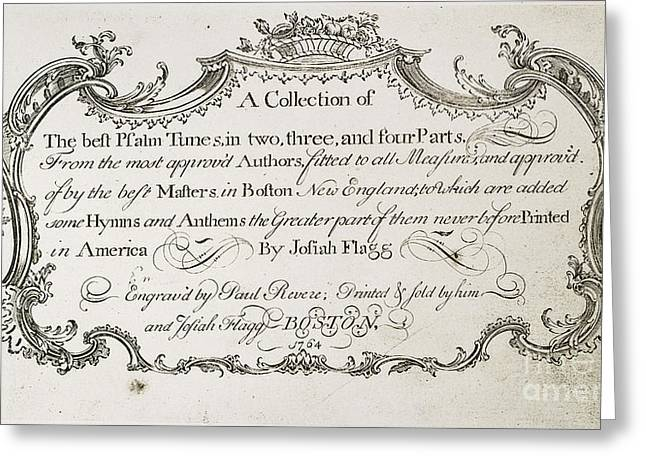 Flagg Greeting Cards - Psalm Tunes, 1764 Greeting Card by Granger