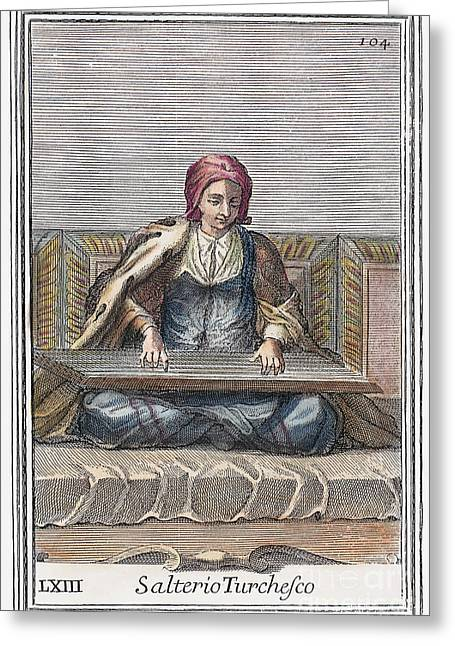 Playing Musical Instruments Greeting Cards - Psaltery, 1723 Greeting Card by Granger