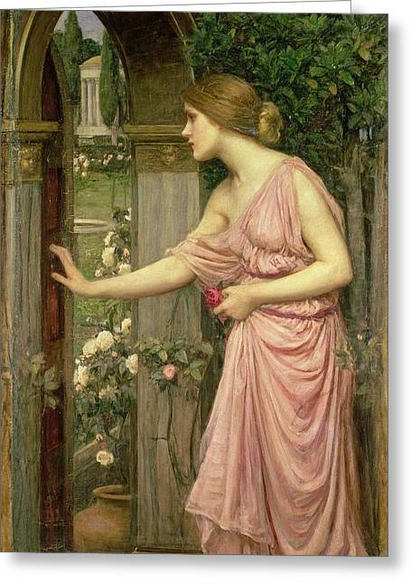 Garden Flower Greeting Cards - Psyche entering Cupids Garden Greeting Card by John William Waterhouse