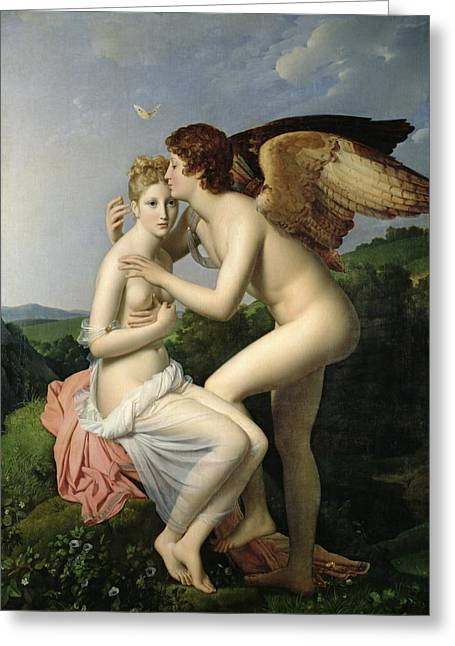 Hug Greeting Cards - Psyche Receiving the First Kiss of Cupid Greeting Card by Gerard
