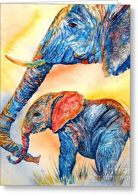 Animal Abstract Greeting Cards - Psychedelephants Greeting Card by Donna Martin