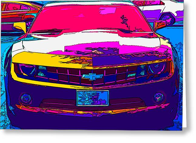 Sheats Greeting Cards - Psychedelic Camaro Greeting Card by Samuel Sheats