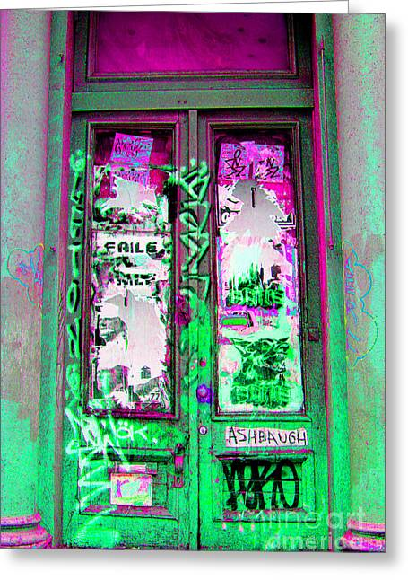 Entryway Greeting Cards - Psychedelic Door Greeting Card by Madeline Ellis