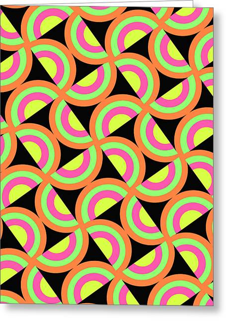Bold Style Greeting Cards - Psychedelic Squares Greeting Card by Louisa Knight