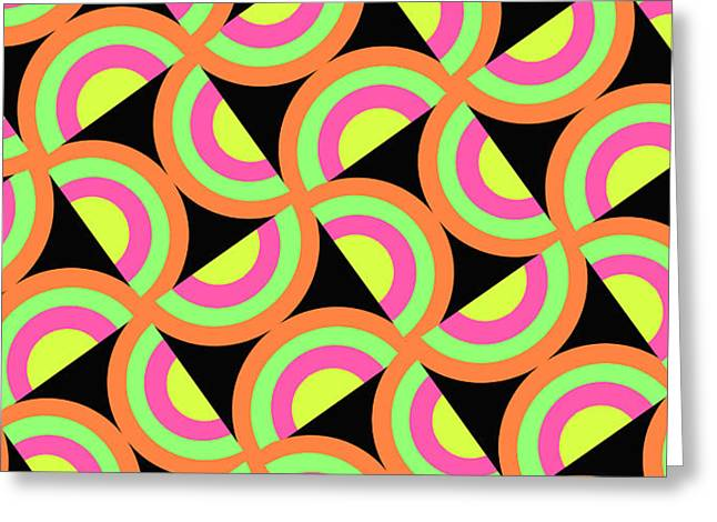 Psychedelic Squares Greeting Card by Louisa Knight