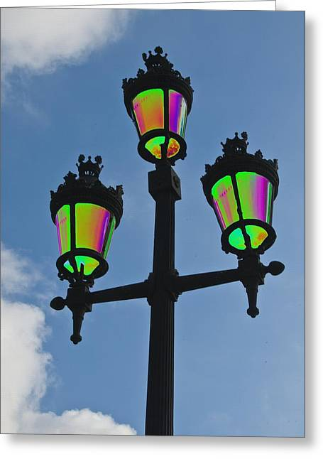 Psychedelic Streetlamps Greeting Card by Richard Henne