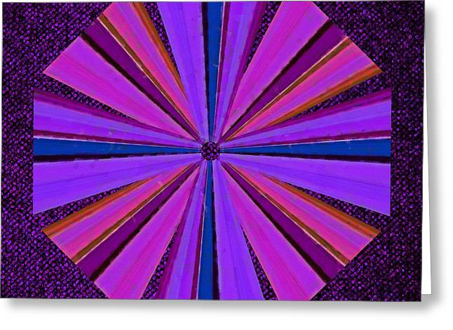 Pixel Stretching Greeting Cards - Psychedelic Windmill Greeting Card by Greg Reed Brown