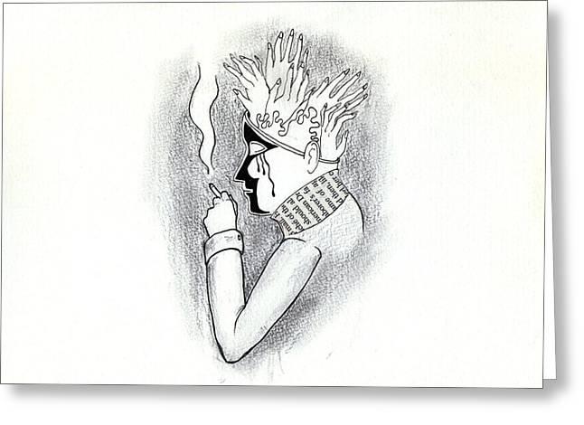 Psychiatry Drawings Greeting Cards - Psychiatry Greeting Card by K Yasukawa