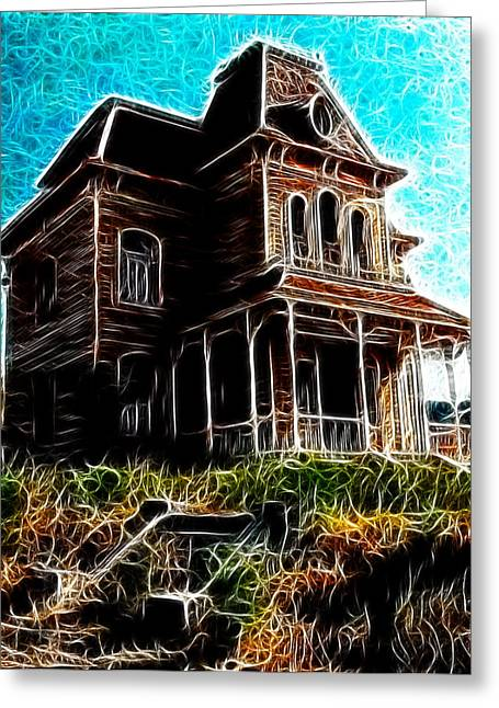 """""""haunted House"""" Drawings Greeting Cards - Psycho House Greeting Card by Paul Van Scott"""