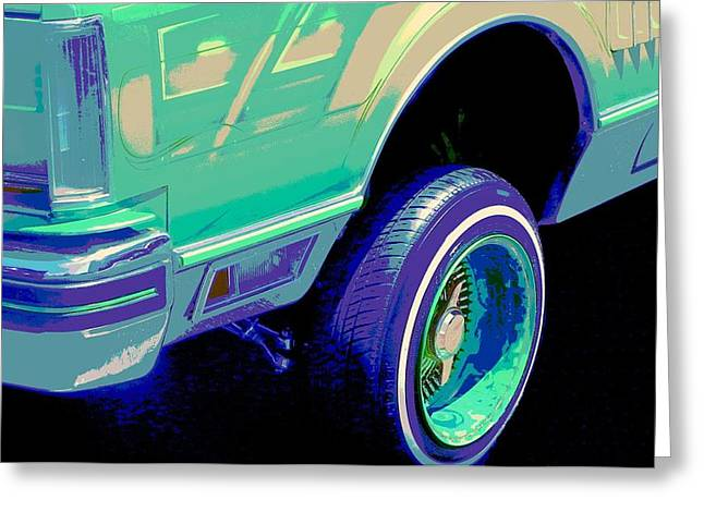 Tricked-out Cars Greeting Cards - Psycho Lincoln Low Rider Greeting Card by Chuck Re