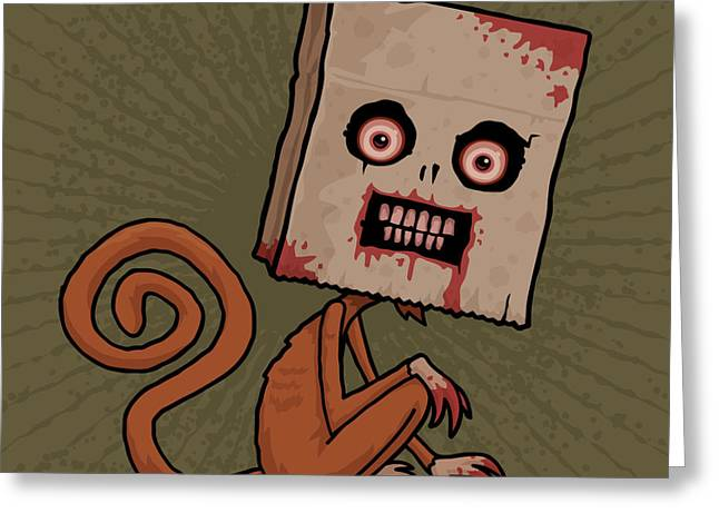 Insane Greeting Cards - Psycho Sack Monkey Greeting Card by John Schwegel
