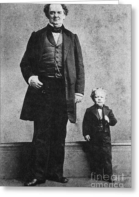 Freak Show Greeting Cards - P.t. Barnum And Commodore Nutt, 1863 Greeting Card by Science Source