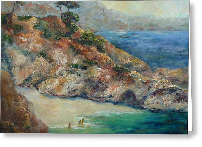 Recently Sold -  - China Cove Greeting Cards - Pt Lobos View Greeting Card by Carolyn Jarvis