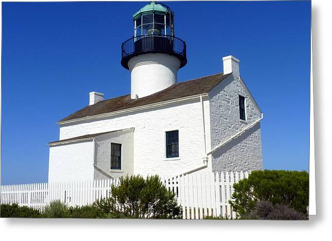Pt. Loma Lighthouse Greeting Card by Carla Parris