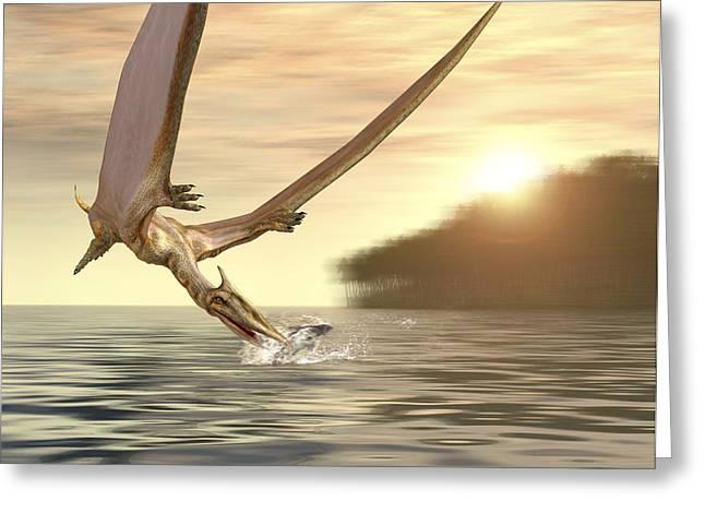 Pterosaur Greeting Cards - Pterosaur Fishing, Computer Artwork Greeting Card by Roger Harris