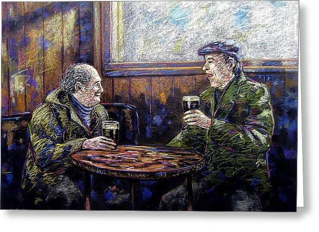 Acrylic Pastels Greeting Cards - Pub Parlance Greeting Card by John  Nolan