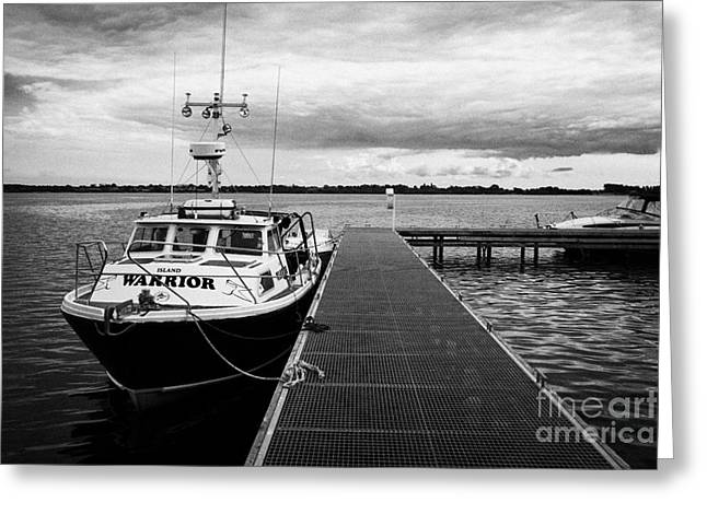 Neagh Greeting Cards - Public Jetty And Island Warrior Ferry On Rams Island In Lough Neagh Northern Ireland Uk Greeting Card by Joe Fox
