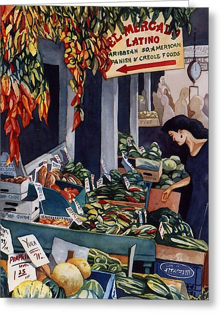 Scott Nelson Paintings Greeting Cards - Public Market With Chilies Greeting Card by Scott Nelson