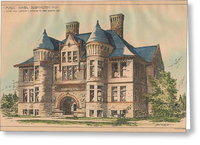 Bloomington Greeting Cards - Public School. Bloomington Indiana 1892 Greeting Card by Wing and Mamurin