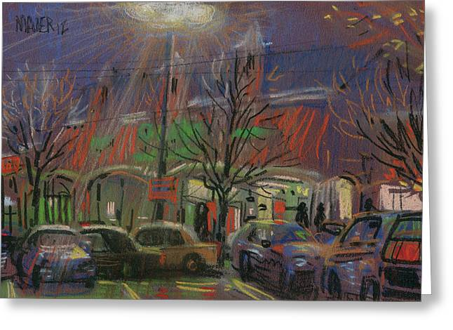 Shopping Greeting Cards - Publix in the Evening Greeting Card by Donald Maier