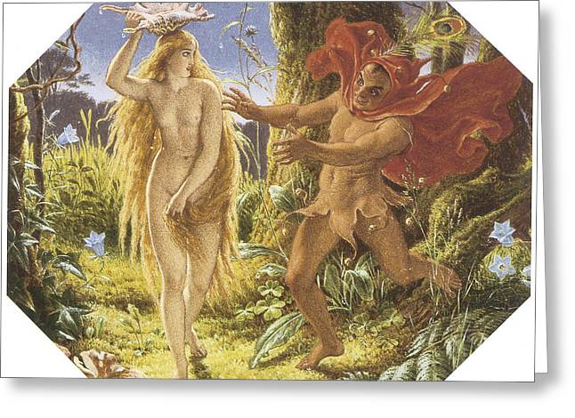 Puck Paintings Greeting Cards - Puck and the Fairy Greeting Card by Joseph Noel Paton