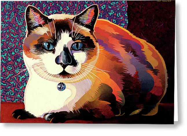 Cat Greeting Cards - Puddin Greeting Card by Bob Coonts