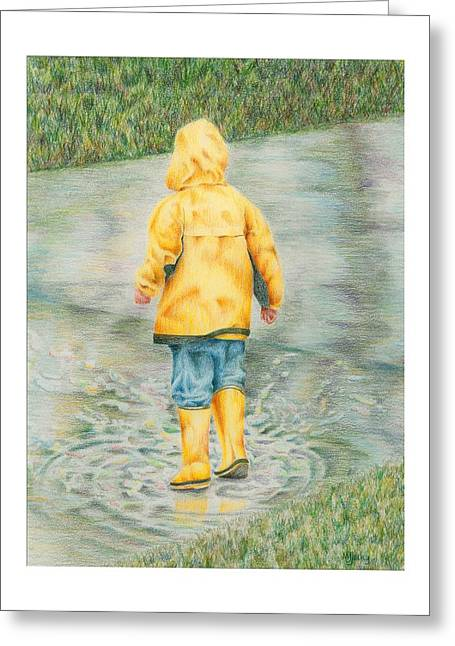 Puddle Drawings Greeting Cards - Puddle Fun Greeting Card by Mary Jo Jung