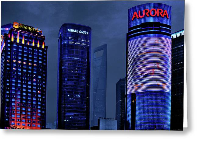 Nightshot Greeting Cards - Pudong - Epitome of Shanghais Modernization Greeting Card by Christine Till
