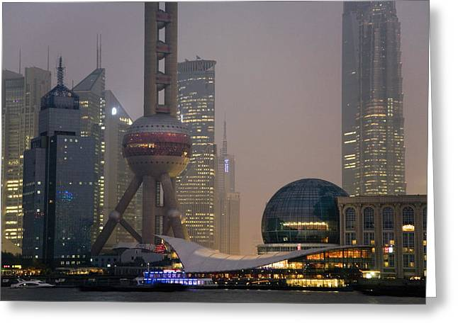 Pudong Greeting Cards - Pudong New Area And Oriental Pearl Greeting Card by Scott S. Warren